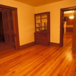 Beautiful Douglas fir wood floors are found in the dining room and throughout the rest of the house.